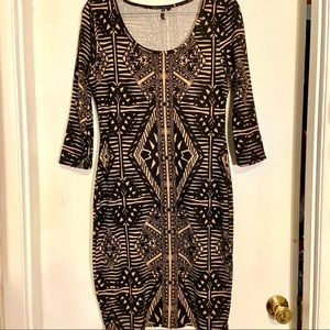 Tribal print knit bodycon dress